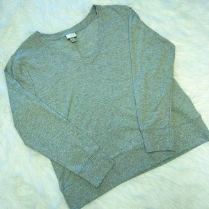 A New Day V Neck Sweater Gray Long Sleeves
